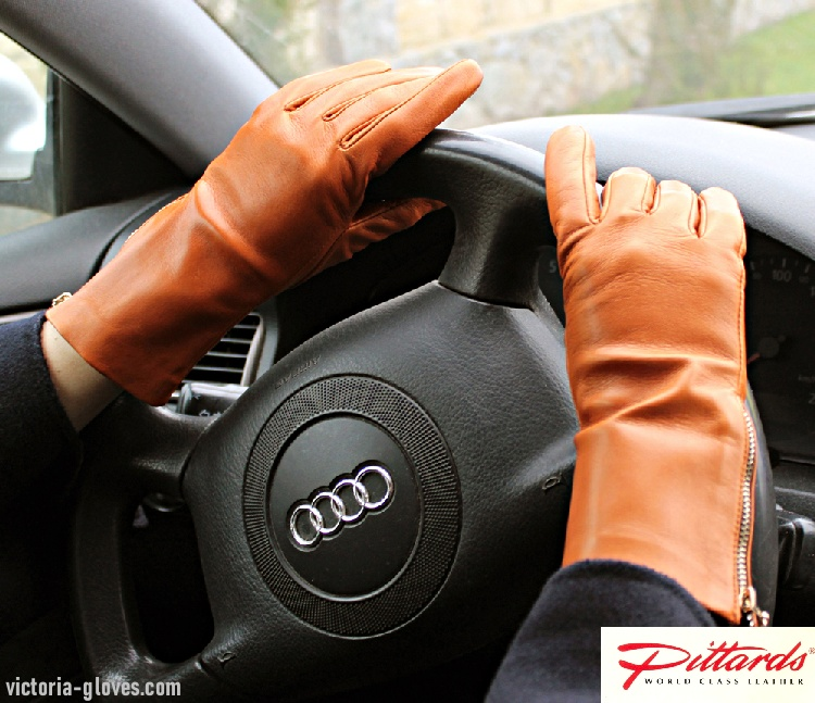 502cg_110 Casual Wrist Gloves: Classy Rich Tan Leather Gloves with side zippers!