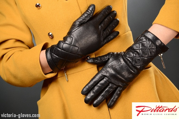 58_597 Casual Wrist Gloves: Warm Stylish Black Leather Gloves with zippers!