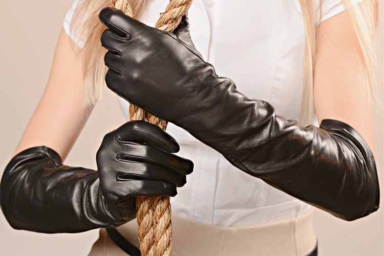 Gloves: Black Long Leather Gloves