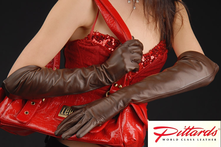 Gloves: Brown Long Leather Gloves