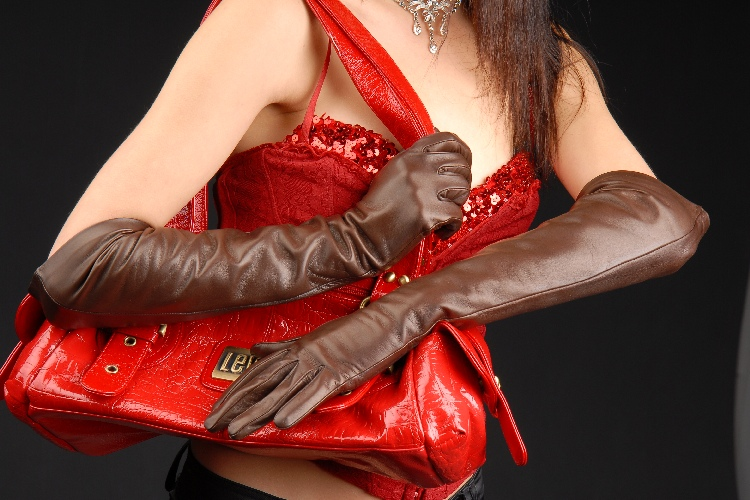623brw_7 Gloves: Classic Chocolate Brown Long Leather Gloves with button insert!