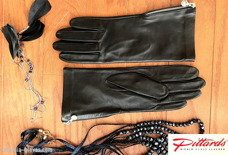 Img_858413 Casual Wrist Gloves: Classy Rich Black Leather Gloves with side zippers!