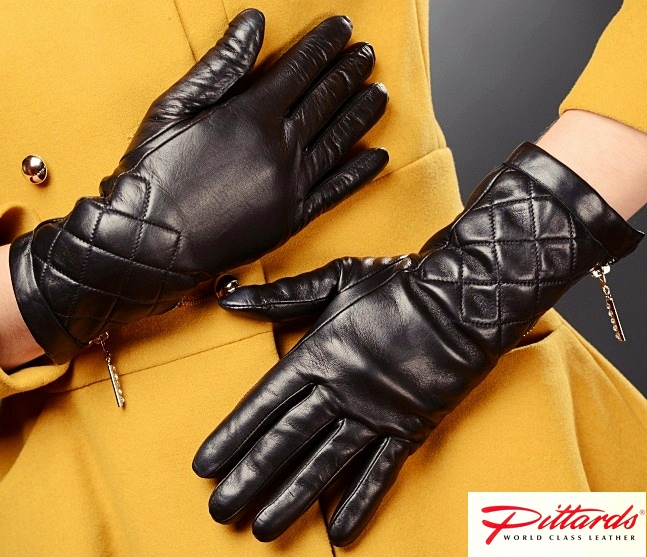 Gloves: Black Leather Gloves with zippers