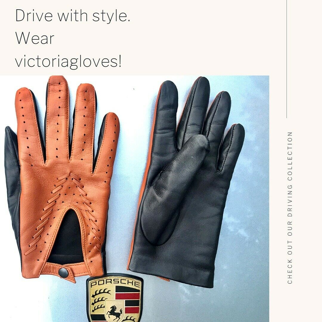 s-l1600 Gloves: Stylish Double Colored Driving Leather Gloves!