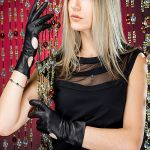 Gloves: Black Long Leather Gloves with buttons