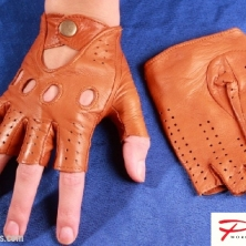 Driving Cognac Fingerless Leather Gloves!