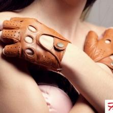 Cognac Fingerless Driving Leather Gloves