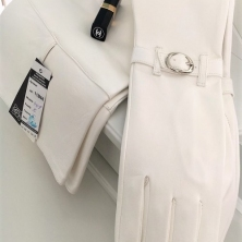 Pure White Super Long Leather Opera Gloves