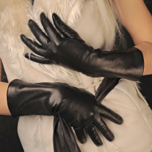 Warm Wool Linen Black Leather Gloves!