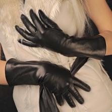 Black Wool Linen Leather Gloves