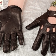 Warm Dark Brown Classic Driving Leather Gloves
