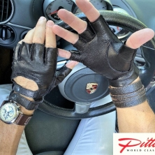Fingerless Driving Double Buckle Leather Gloves
