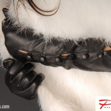 Glamorous Gorgeous Buttoned Black Long Leather Gloves!