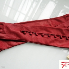 Red Perfection Buttoned Long Leather Gloves!