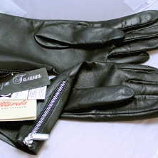 Classy Rich Black Leather Gloves with side zippers!