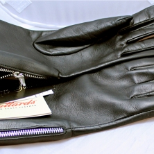 Black Classy Leather Gloves with zippers