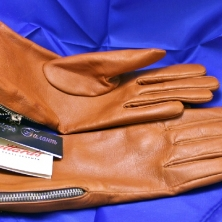 Classy Rich Tan Leather Gloves with side zippers!