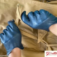 Royal Navy Blue Dotted Leather Gloves!