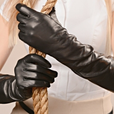 BEST SELLER! Classic Plain Black Long Leather Gloves!