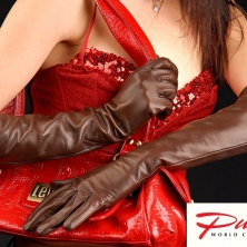 Brown Long Leather Gloves