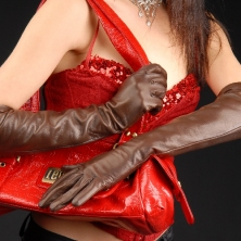 Classic Chocolate Brown Long Leather Gloves with button insert!