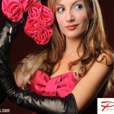 Black Glamour Long Leather Gloves with a button detail!