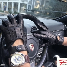Stylish Dark Brown Men's Driving Leather Gloves!