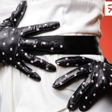 Classy Wrist Polka Dot Leather Gloves,Mary Poppins Style!