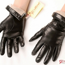 Warm Stylish Black Leather Gloves with zippers!