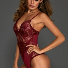 Leather+Lace Collection! Cherry Red  Sheer Lace Teddy